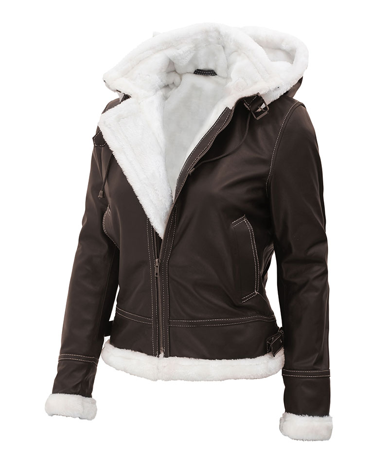Womens Brown Fur Lined Leather Jacket, Ladies Winter Coats Fur Lined