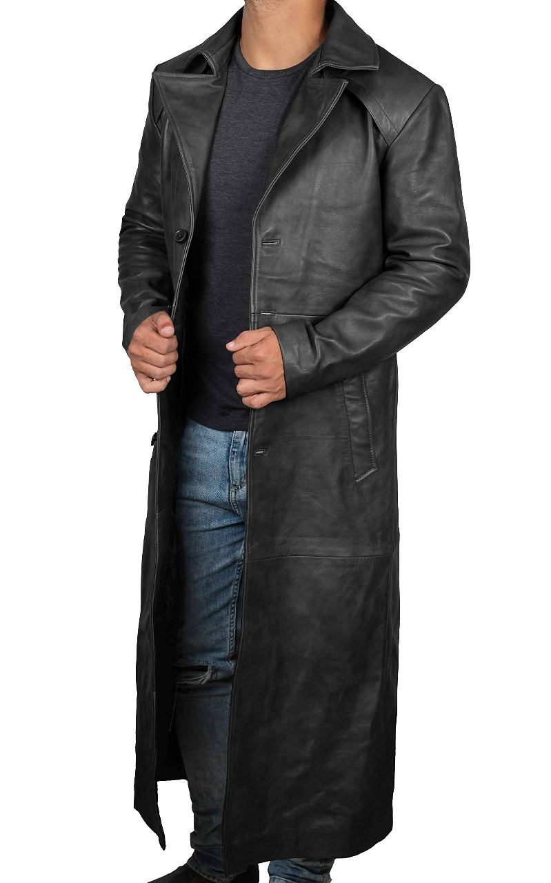 Jackson Black Leather Duster For Men - 100% Genuine Leather