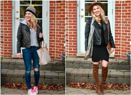 Day To Night Look With A Ladies Leather Biker Jacket